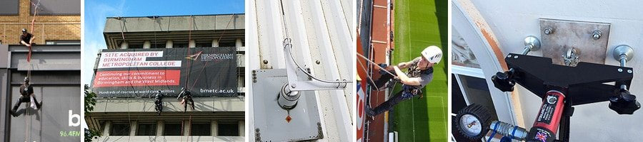 Rope access banner and safety line installation